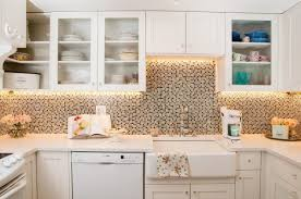 white kitchen design and decoration using round clear glass light