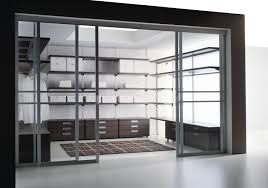 admirable clear glass walk in closet idea with mdf storage set and