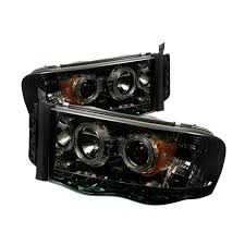 spyder 5009999 smoked projector headlights w led halo