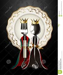 vector of spoon and fork in king and queen cloth on luxury plate
