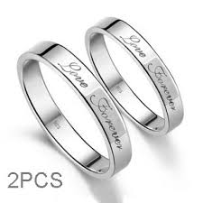 Promise Ring Engagement Ring And Wedding Ring Set by Forever Love Engraved Sterling Silver His And Her Promise Rings