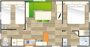 One Bedroom Mobile Home Floor Plans by Mobile Homes In South Brittany In A 5 Stars Campsite