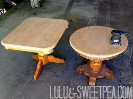 Oak Side Table Lulu U0026 Sweet Pea Diy Refinished Oak Side Table Stained U0026 Painted