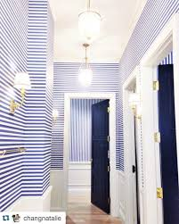 Navy Blue And White Horizontal Striped Curtains Extraordinary Hallway With Ink Navy Horizontal Striped Wallpaper