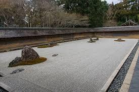 the kare sansui dry landscape zen rock garden at ryoan ji