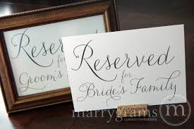 reserved signs for wedding tables reserved for bride s and groom s family signs thin style