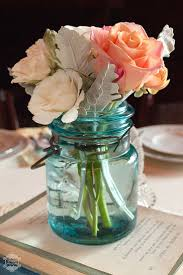 vintage wedding tablescapes using blue mason jar u0026 roses deer