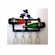 grape leaf small wall wine rack holds 2 wines and 4 glasses