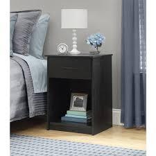 night stand mainstays 1 drawer nightstand end table black ebony ash walmart com
