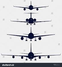 airplanes silhouette aircraft front view aircraft stock vector