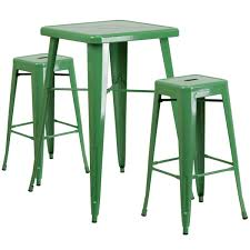 bar stool table set of 2 23 75 square green metal indoor outdoor bar table set with 2