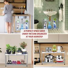 the kitchen sink cabinet organization sink organizer customizable shelving system organizeme usa