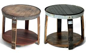 whiskey barrel side table furniture pieces made out of whiskey barrels