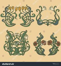 Modern Deco Art Nouveau Art Deco Floral Ornaments Stock Vector 361547957