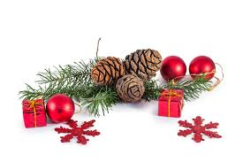 pine cones and needles with christmas decoration stock image