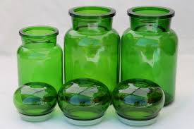 vintage green glass kitchen canisters airtight seal apothecary