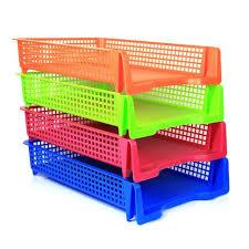 Stackable Desk Organizer Plastic Desk Letter Organizer Tray 4 Tier Color Set Stackable