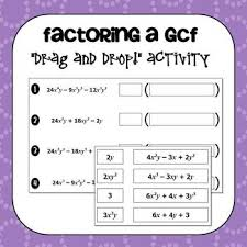 factoring a greatest common factor gcf drag and drop activity