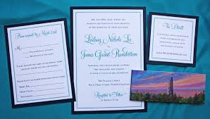 wedding invitations island formal navy teal border bald island lighthouse belly band