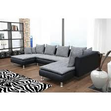 canap d angle convertible simili cuir canapé d angle convertible en u coloris gris noir en tissu et simili