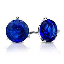 blue stud earrings 14k white gold 3 prong martini blue sapphire gemstone stud