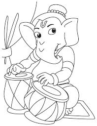 lord ganesha playing tabla coloring page download free lord