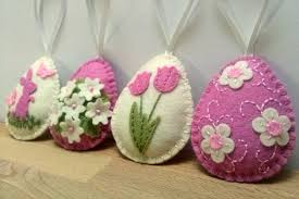 felt easter eggs easter eggs felt easter decoration set of 4 pink ivory eggs