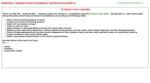 Sample Resume For Gym Instructor by Personal Trainer Work Experience Certificate