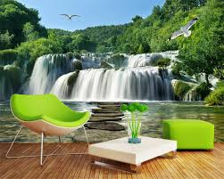 compare prices on wall scenery wallpaper forest online shopping beibehang nature photo wall mural wallpaper landscape scenery waterfalls slate forest seagulls wallpaper for living room