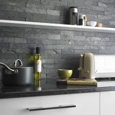 Stone Tile Kitchen Backsplash Silver Grey Split Face Tiles Are Created From Rustic Pieces Of