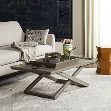 cross leg coffee table safavieh arleana cross leg coffee table tray free shipping today