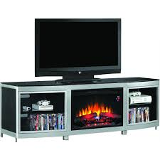 black metal electric fireplace completed by double shelves and lcd