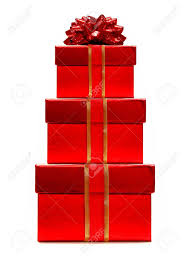christmas gift bow christmas gifts stacked with ribbon and bow stock photo