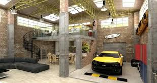 workshop designs powerful rustic style home living room underground garage design