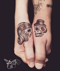 matching skull tattoos wasp matching sugar skulls