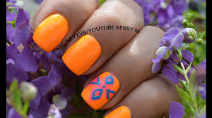 bright summer nail design orange pink and blue youtube