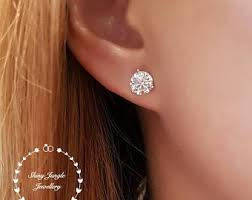 diamond stud sizes diamond stud earrings etsy