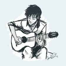 pictures cute boy singing with guitar for a cute sketch