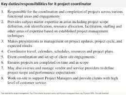 project coordinator job description 2 key duties responsibilities