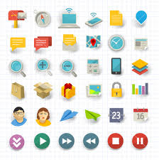 vector flat design communication and business icon set royalty