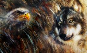 wolf and eagle color painting