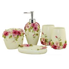 country style resin 5pcs bathroom accessories set soap dispenser