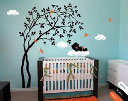 Tree Nursery Wall Decal Modern Baby Nursery Wall Decal Tree Sticker Mural Teddy Decor