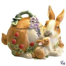 fitz and floyd botanical bunny cookie jar by fitz and floyd