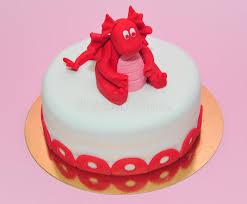 red baby dragon birthday cake stock photo image 53568283