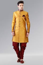 wedding dress indo sub fabric wedding wear indo western sherwani suit in mustard colour
