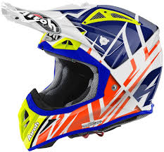motocross helmet visor airoh aviator 2 2 styling motocross helmet white blue orange