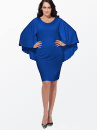 ericdress plain cape bell sleeve plus size bodycon dress 11483040