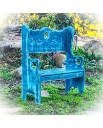 winter shopping sales on shabby chic bench distressed blue bench