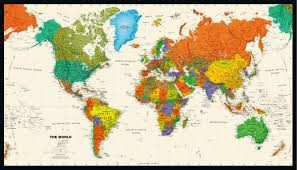 Mapquest Maps World Tyvek Wall Map 50x29in Magna Carta Usa